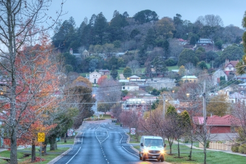 Looking over the township of Daylesford at dawn