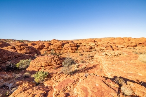 Lookout over the canyon of red arid earth in the bright sun
