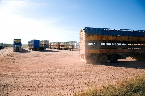 Lorries parked on dirt in outback