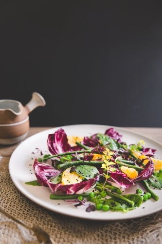 Low angle of a healthy, colourful mixed leaf salad with dark backdrop