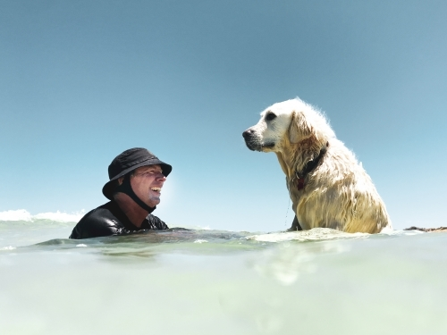 Man in surf hat with Labrador dog in the ocean looking at each other
