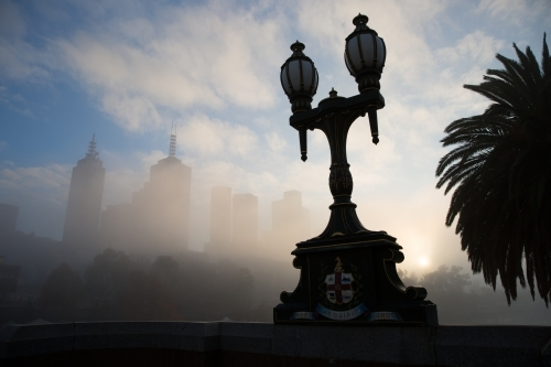 Melbourne City on a Foggy Winter Morning