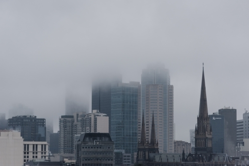 Melbourne city on a grey foggy morning