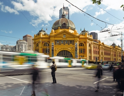 Traffic and pedestrians at Flinders Street Station