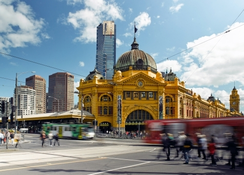 Trams and pedestrians at Flinders Street Station