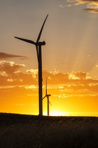 Wind turbine silhouette against sunset with rays