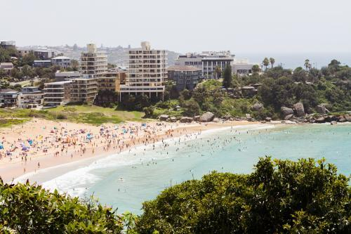 View of iconic Bondi Beach from high on the hill in Sydney