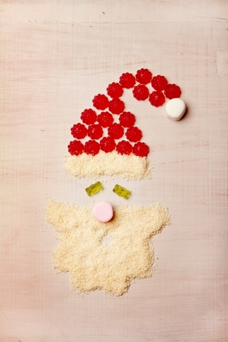 Santa claus shape made from lollies and coconut