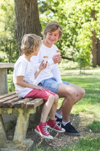 Two brothers sit on a park bench eating ice creams