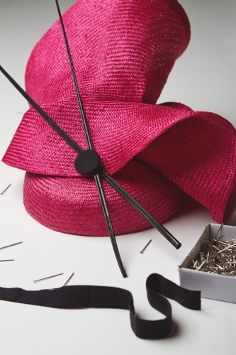 Close up of a ladies fashion hat accessory for the races