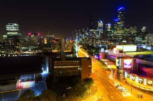 Melbourne street and skyline at night