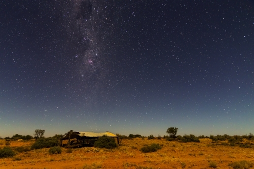 Old shed at night with Milky Way horizontal