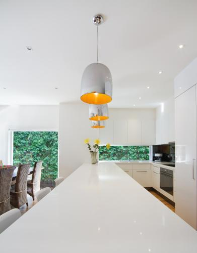 White kitchen island bench in contemporary kitchen