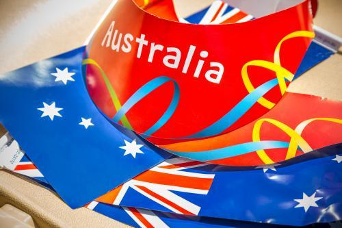 Australia Day flags and visors