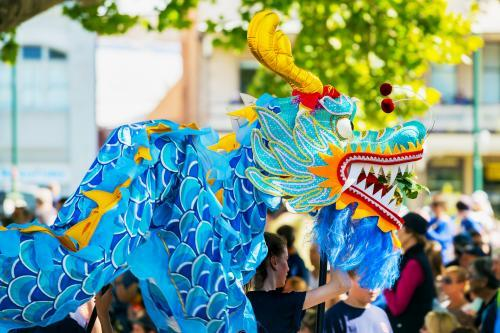 A Chinese Dragon being carried in parade