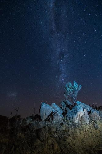 Milky Way Above Rocky Outcrop in the Snowy Mountains