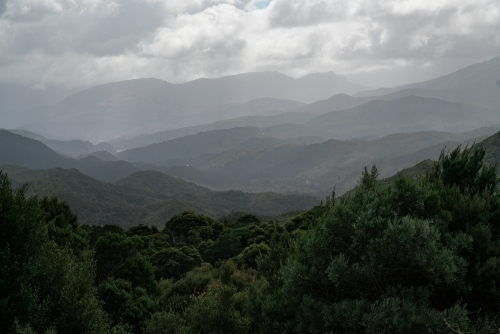 Misty mountains and valleys of Central Highlands, Tasmania