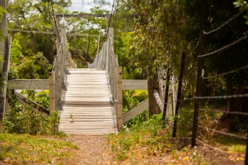 Mitchell St wooden foot bridge in country town