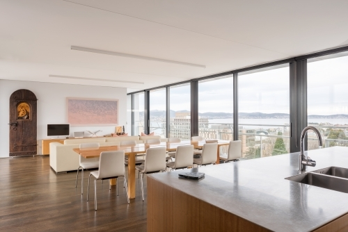 Modern interior of luxury city apartment overlooking Hobart city