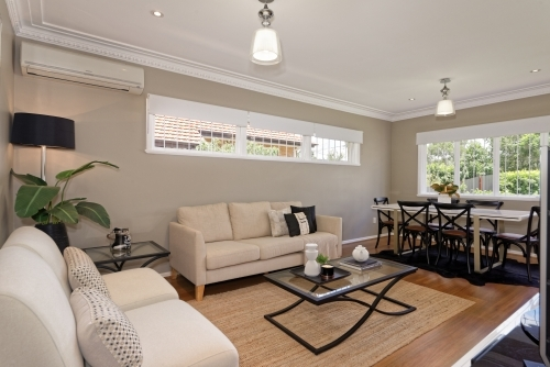 Modern Lounge and dining area in metropolitan suburb