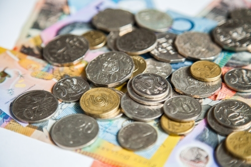 Money on australian notes with gold and silver coins