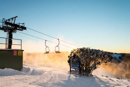 morning light at a ski field, with chairlift