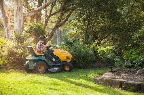 Young boy mowing the front yard on a ride on lawn mower