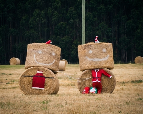 Mr and Mrs Christmas made from bales of hay decorations in paddock