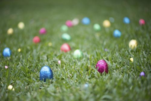 Multicoloured easter eggs in grass