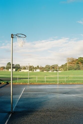 Netball hoop at community sports ground, shot on film
