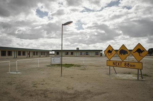 Motel and signage at the Nullarbor roadhouse