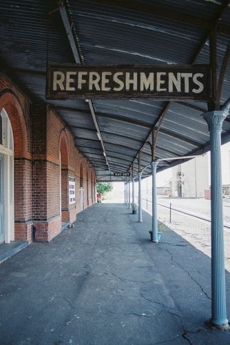 Old disused railway station in rural VICTORIA, shot on film