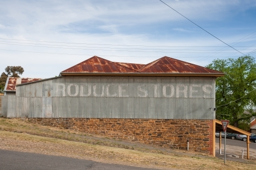 Old produce store with faded signage
