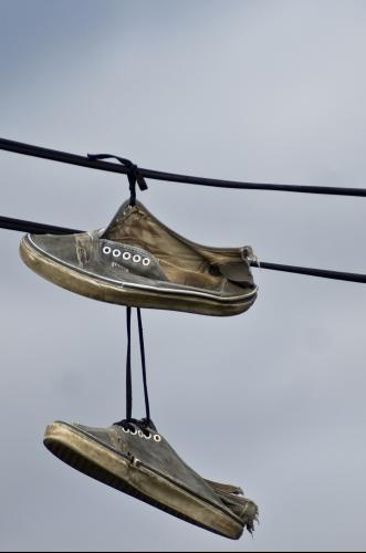 Old shoes on wire