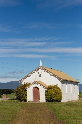 Old white church in the country