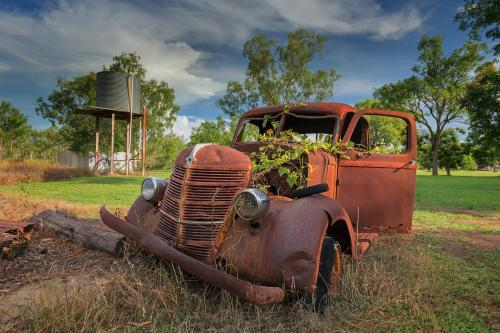 Rusty old car in the outback