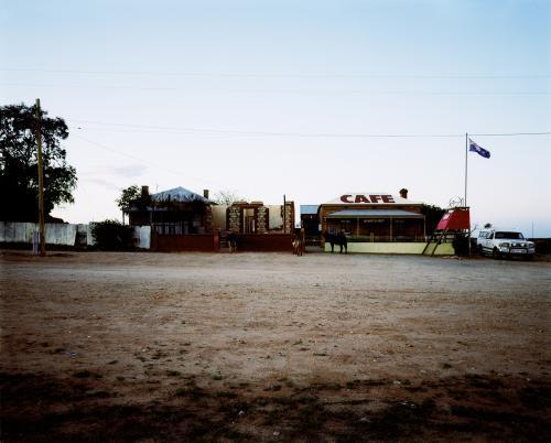 Outback Cafe viewed across a dirt road