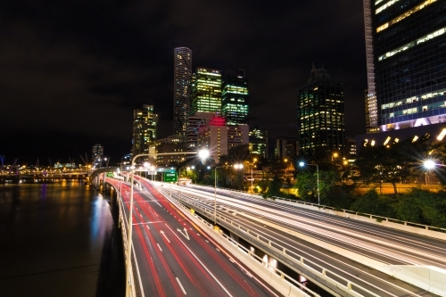 Pacific Motorway with light trails at night
