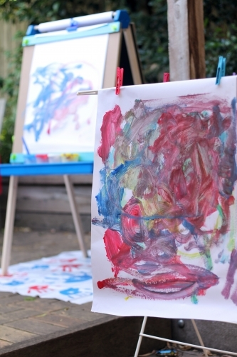 Painting drying infront of easel