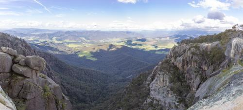 Panorama of high country valley from rocky clifftop