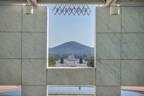 Parliament House, Canberra looking towards War Memorial