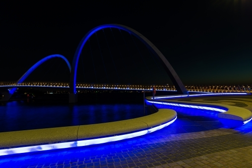 Path curving onto arched bridge with blue lighting and night sky