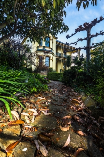 Path in the gardens of the historic Corinda accommodation in Hobart
