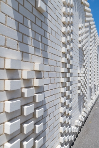 Patterned white brick wall with 3D effect style