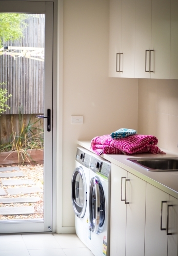 laundry room with view to garden
