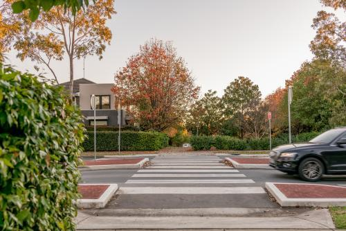 Pedestrian crossing on a speed hump on a suburban Sydney street