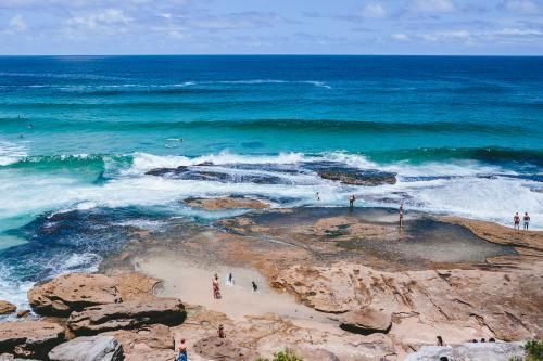 People in the rockpools between Tamarama and Bondi