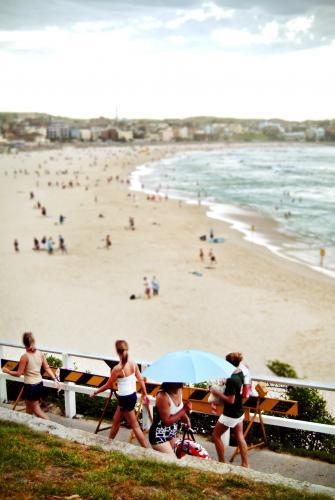 People walking along  Bondi Beach Path