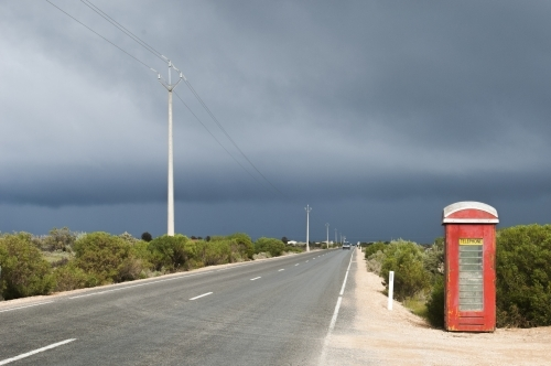 Phone box on a country road