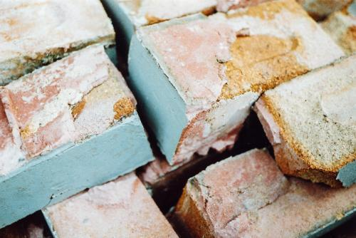 Pink and Blue Bricks and Rubble